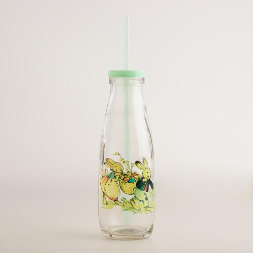 Glass Bunny Milk Bottles with Straw Set of 6