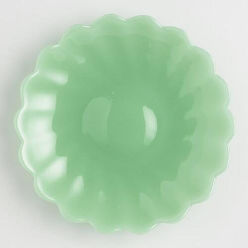 Jade Green Glass Plates Set of 6