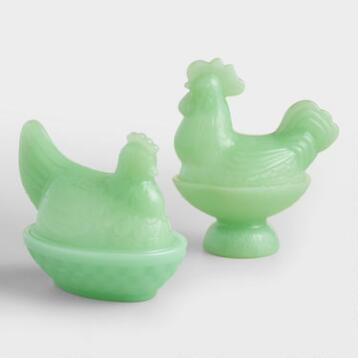 Jade Green Glass Rooster Bowls with Lid Set of 2