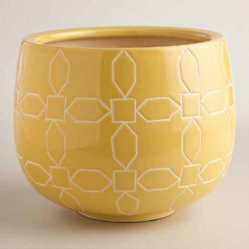 Large Yellow Geometric Planter