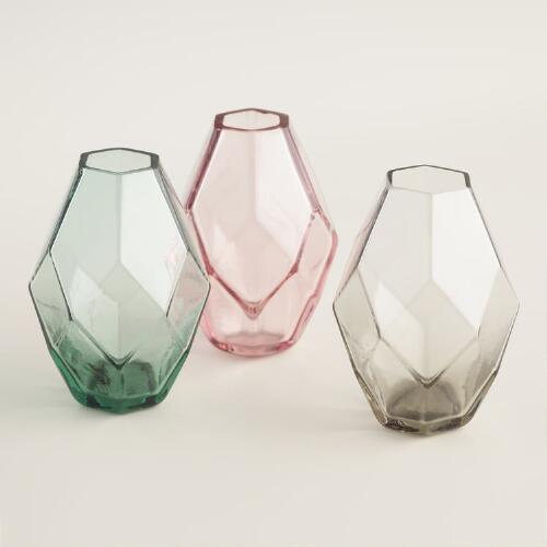 Oval Faceted Mini Vases Set of 3