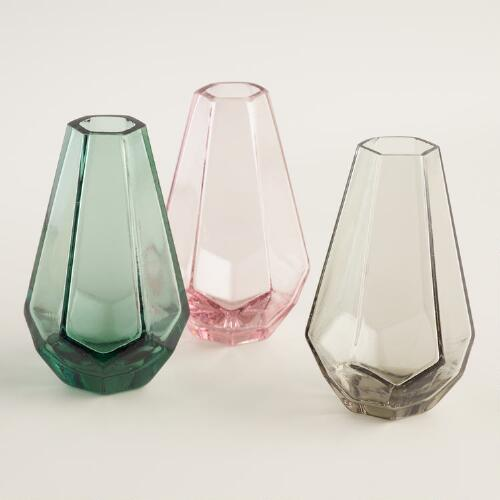Teardrop Faceted Mini Vases Set of 3