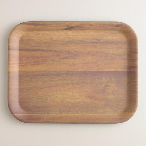 13 x 10  Aqua Wood Grain Melamine Serving Tray