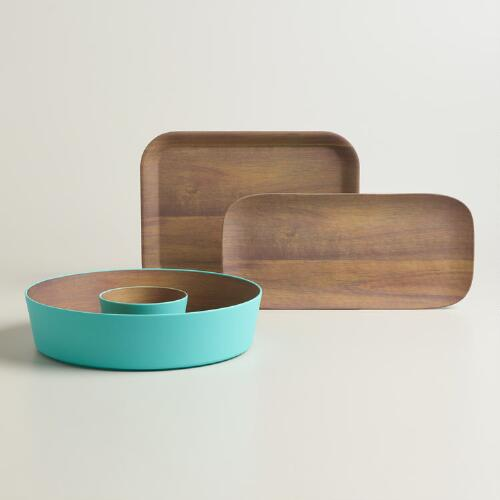 Aqua Wood Grain Melamine Serveware Collection