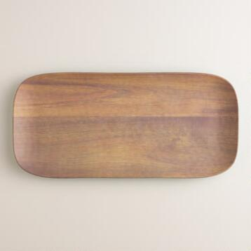 14 x 7 Aqua Wood Grain Melamine Serving Tray