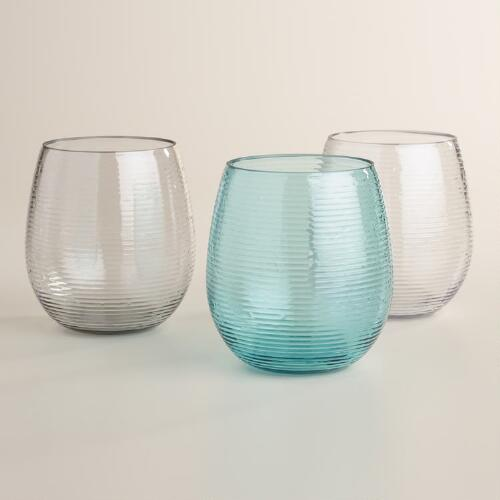 Ribbed Acrylic Stemless Glasses Set of 4