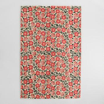 4x6 Pink Floral Crewel Wool Mira Area Rug