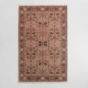 5x8 Blush Floral Block Print Cotton Symi Area Rug