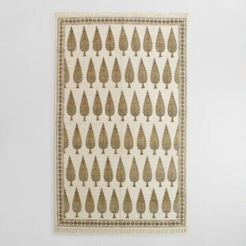 5x8 Gray Block Print Cotton Amalia Area Rug