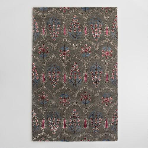 Gray Floral Tufted Wool Isabella Area Rug