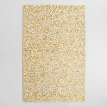 Yellow and Ivory Floral Tufted Wool Simone Area Rug
