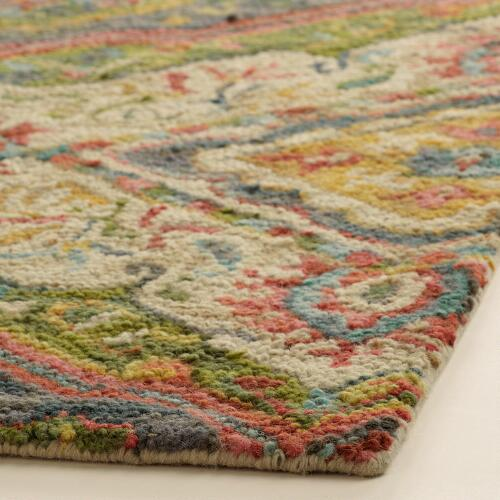 Coral And Gray Tufted Wool Jessica Area Rug World Market