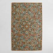Embroidered Floral Tufted Wool Area Rug