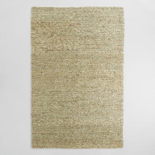 Blue and Green Tie Dye Chunky Jute Symeon Area Rug
