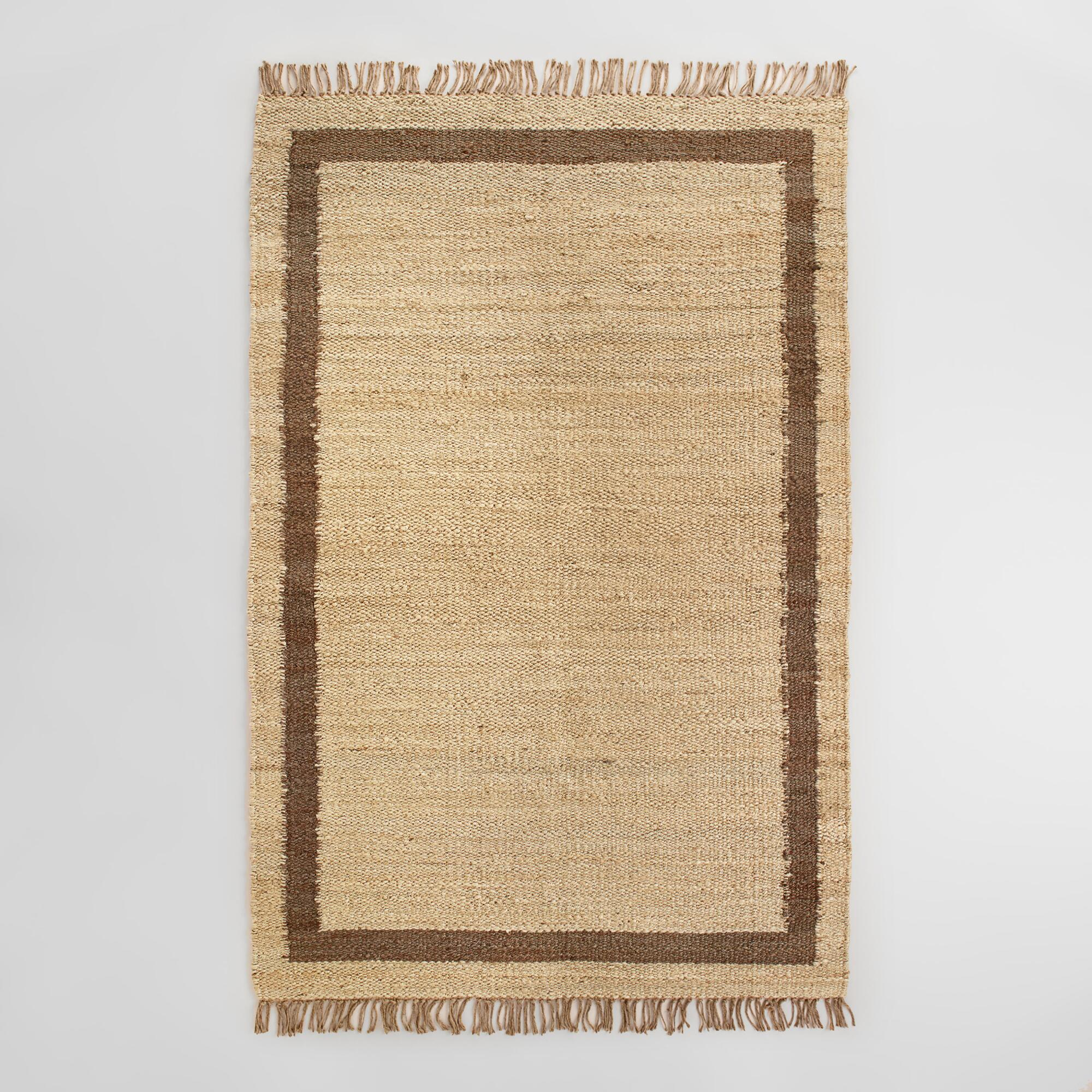 Shiitake Windowpane Bordered Jute Area Rug