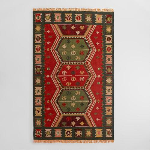 Red Flatweave Wool Pradeep Area Rug