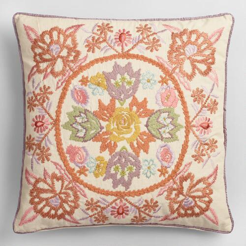Orange and Purple Garden Embroidered Throw Pillow