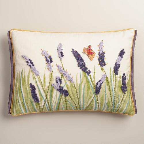 Purple Lupine and Butterfly Embroidered Lumbar Pillow