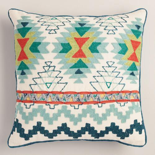 Blue Tribal Embroidered Throw Pillow