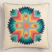 Sunburst Tribal Embroidered Throw Pillow