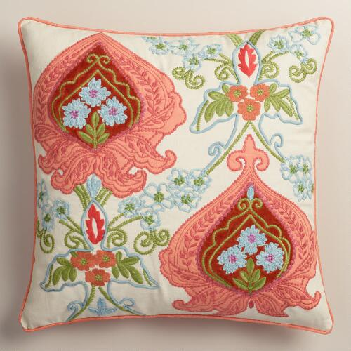 Orange Flowers Embroidered Throw Pillow