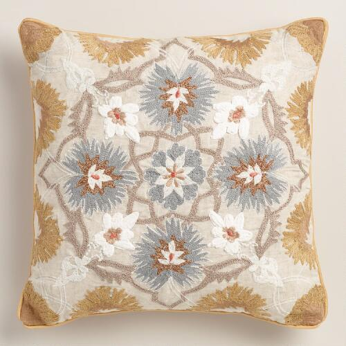 Gold Medallion Embroidered Throw Pillow