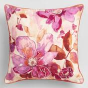 Watercolor Floral Embroidered Throw Pillow