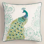 Peacock Embroidered Throw Pillow
