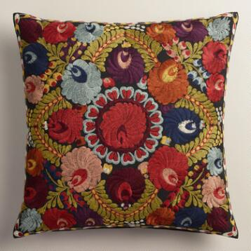 Black Floral Wool Henrietta Throw Pillow