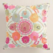 Cream Floral Wool Henrietta Throw Pillow