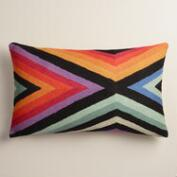 Chevron Stripe Wool Lumbar Throw Pillow