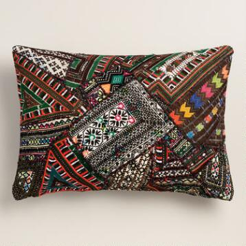 Black Sari Patchwork Lumbar Pillow