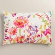 Watercolor Thistle Cotton Lumbar Pillow