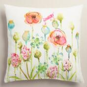 Watercolor Poppy Cotton Throw Pillow
