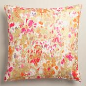 Gold Splatter Floral Cotton Karla Throw Pillow