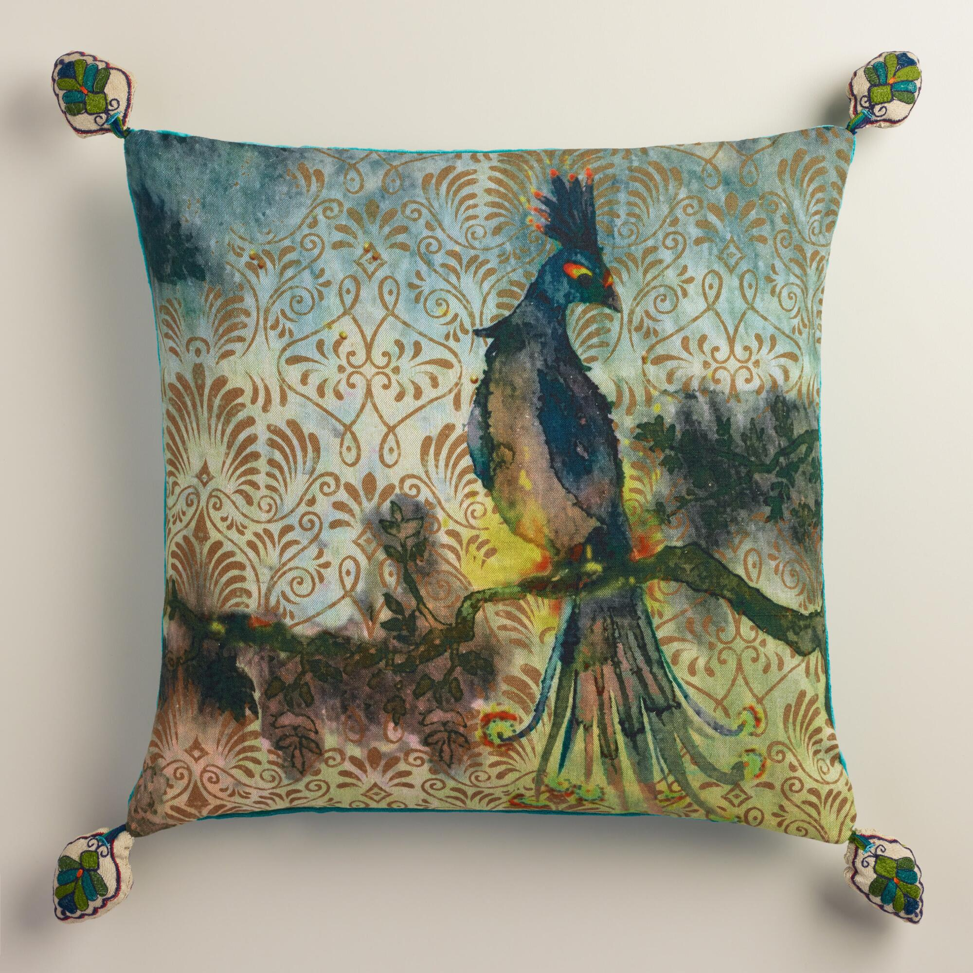 Peacock Print Cotton Throw Pillow World Market