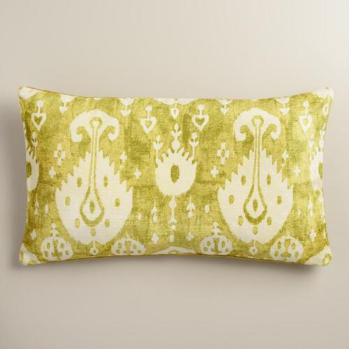 Oversized Green Ikat Velvet Taza Lumbar Pillow