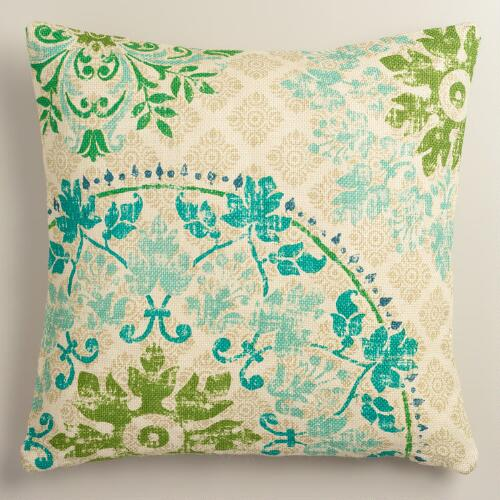 Cool Vintage Style Medallion Print Jute Throw Pillow
