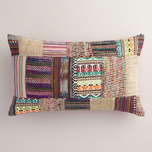Oversized Multicolor Patchwork Lumbar Pillow