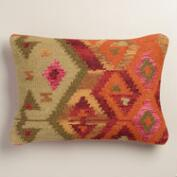 Orange Wool Kilim Lumbar Pillow