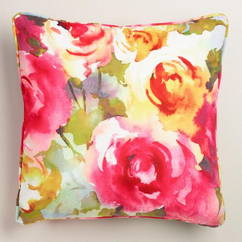 Watercolor Roses Velvet Throw Pillow