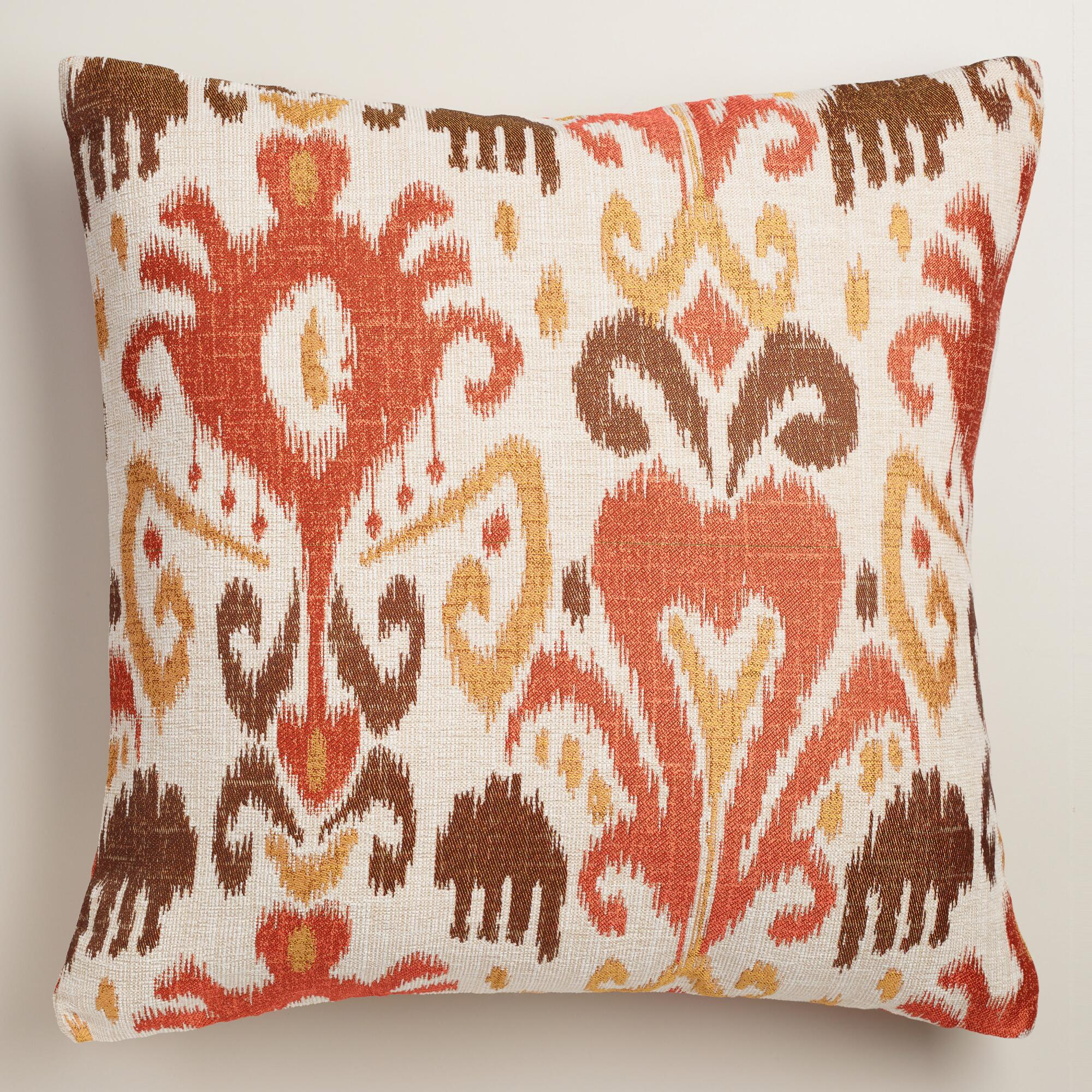 Jacquard Throw Pillows : Warm Ikat Jacquard Throw Pillow World Market