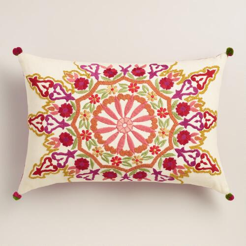 Medallion Embroidered Lumbar Pillow