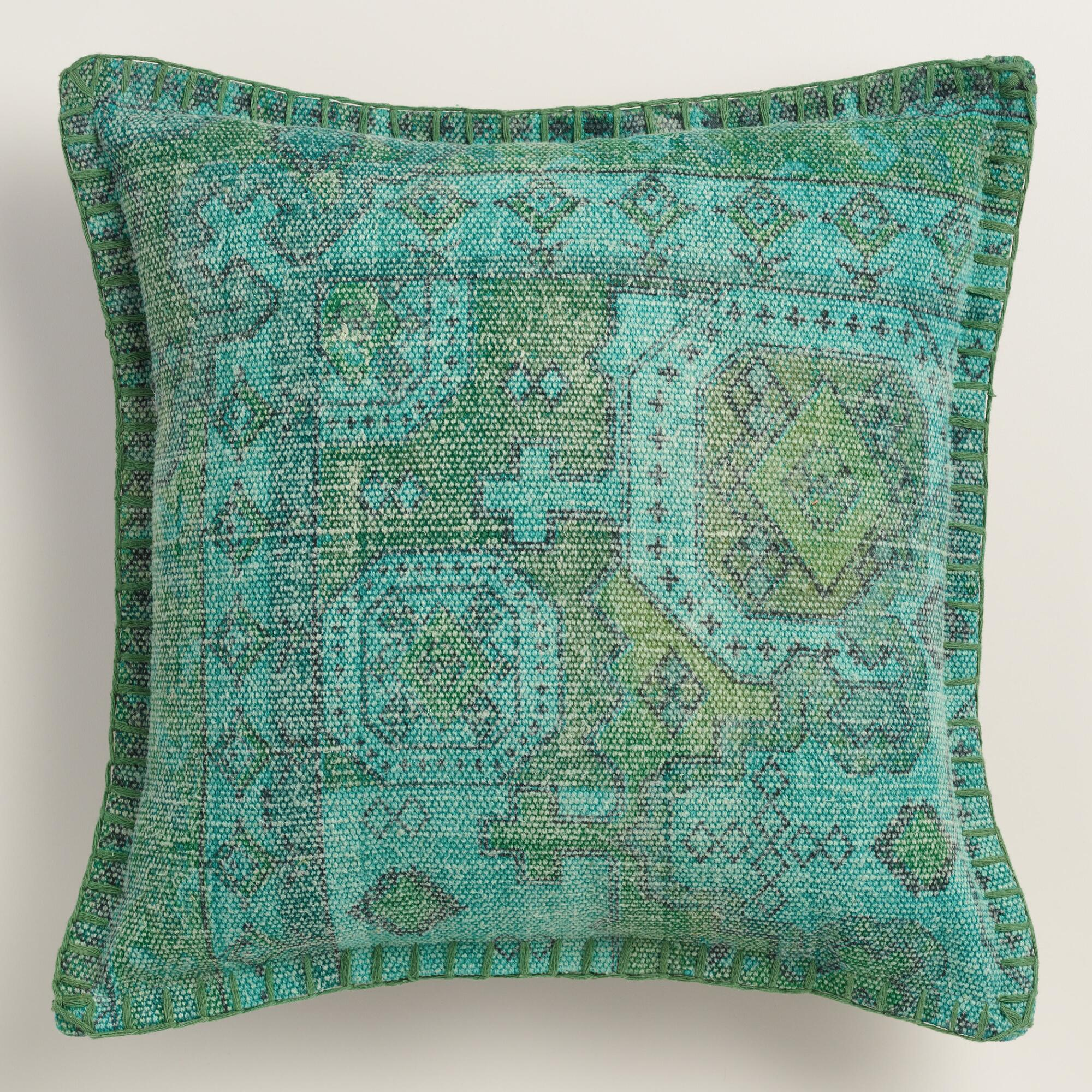 Teal Overdyed Cotton Throw Pillow World Market