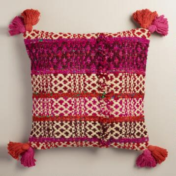 Pink Stripe Wool and Silk Throw Pillow