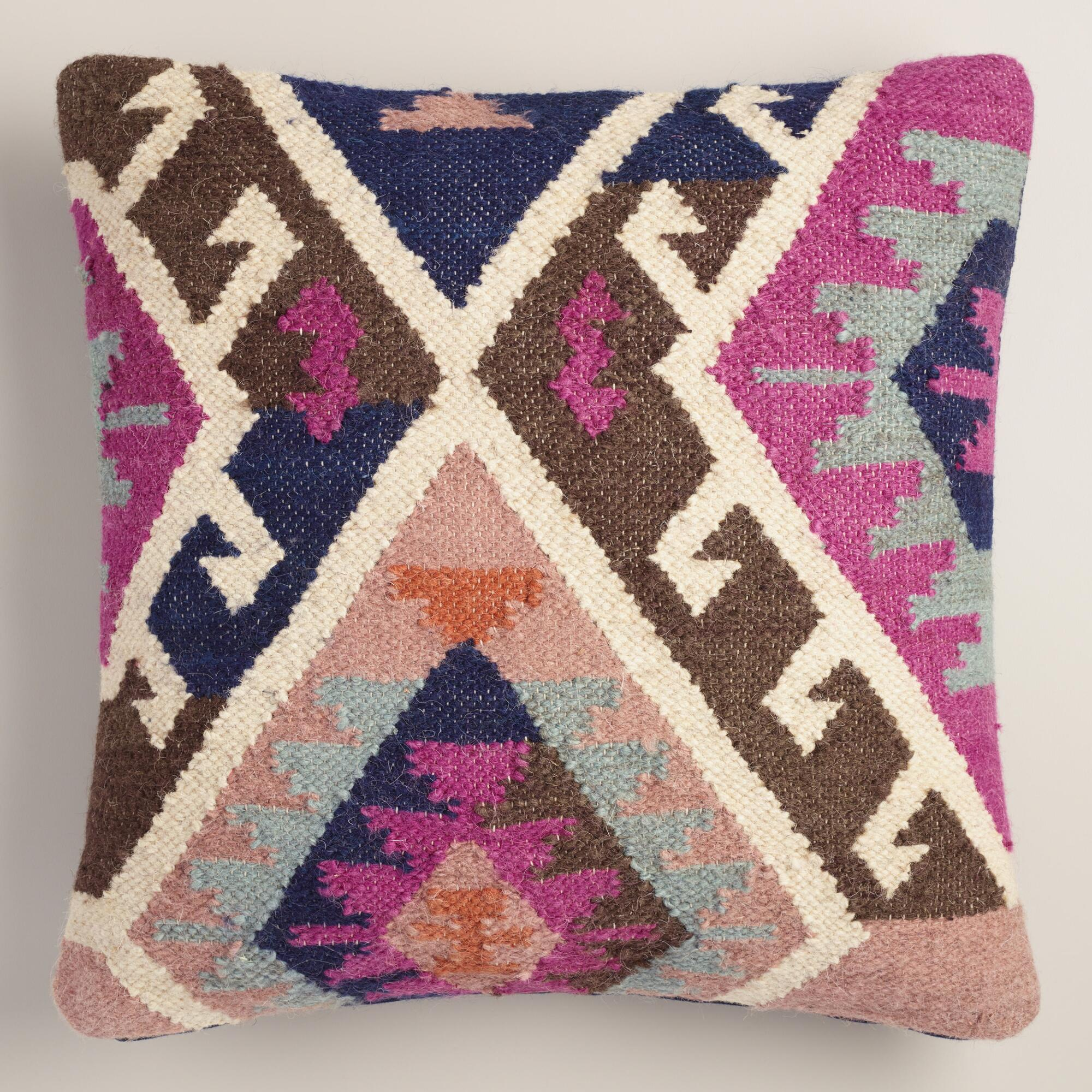 Throw Pillows King Size Bed : Pink Wool and Cotton Kilim Throw Pillow World Market