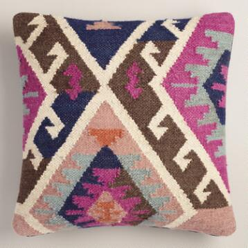 Pink Wool and Cotton Kilim Throw Pillow