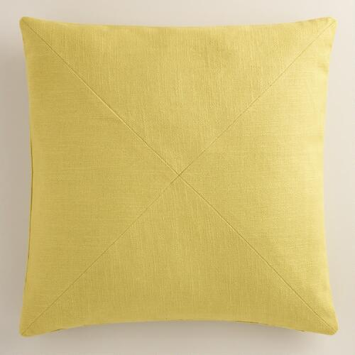Linden Green Herringbone Cotton Throw Pillow