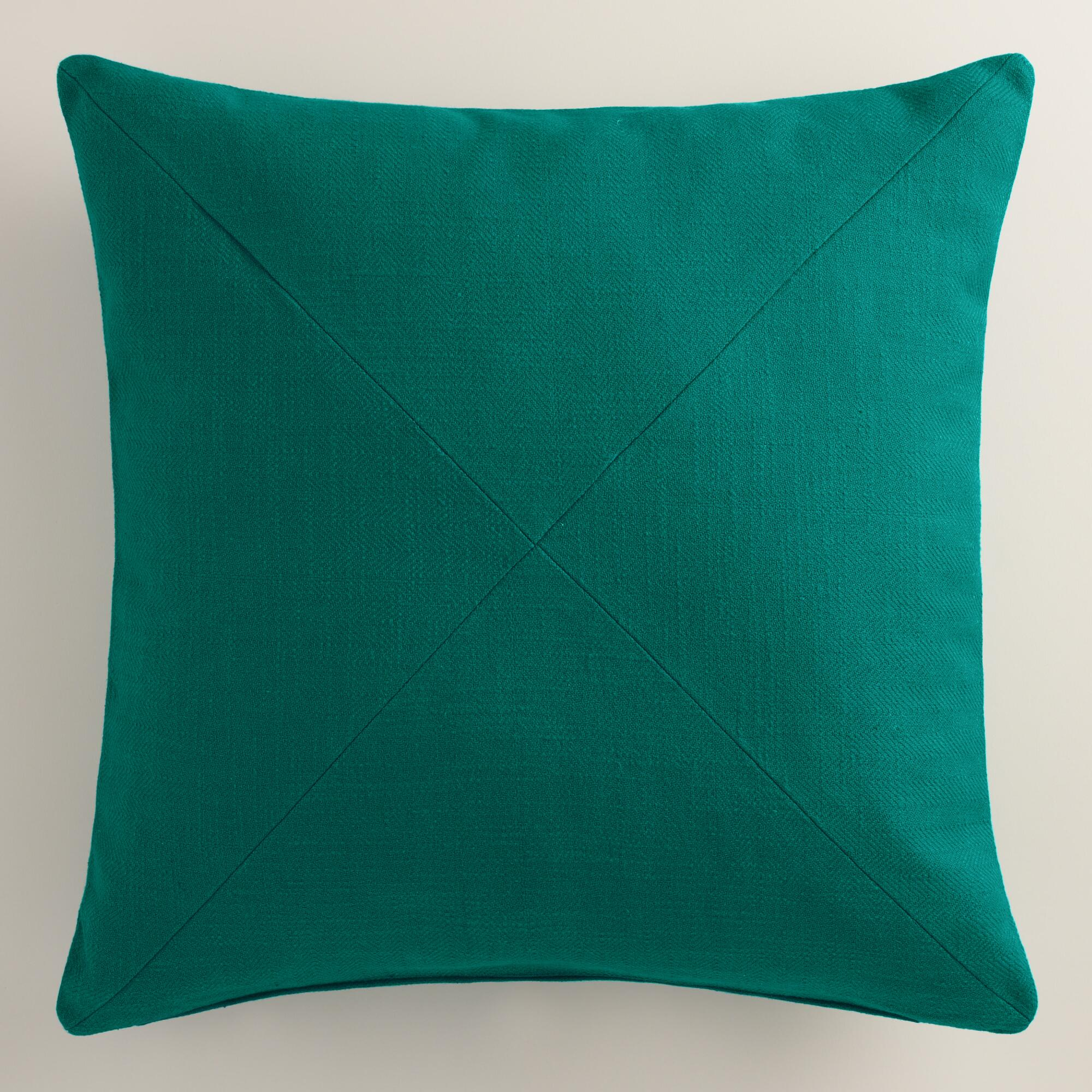 Decorative Pillows With Teal : Teal Herringbone Cotton Throw Pillow World Market