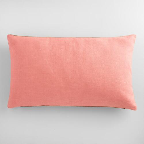Rose Herringbone Linen Lumbar Pillow